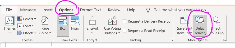 Outlook Option Menu